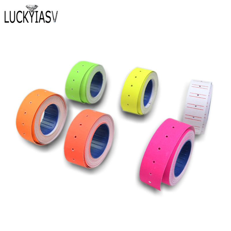 One Roll Adhesive Price Labels Paper Tag Price Label Sticker Single Row For Price Gun Labeller 6 Color Suitable For Grocery