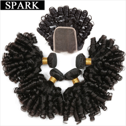 Spark Ombre Brazilian Hair 3 or 4 Bundles With Closure Remy Human Hair Weave Extensions Loose Bouncy Curly Natural Black Color