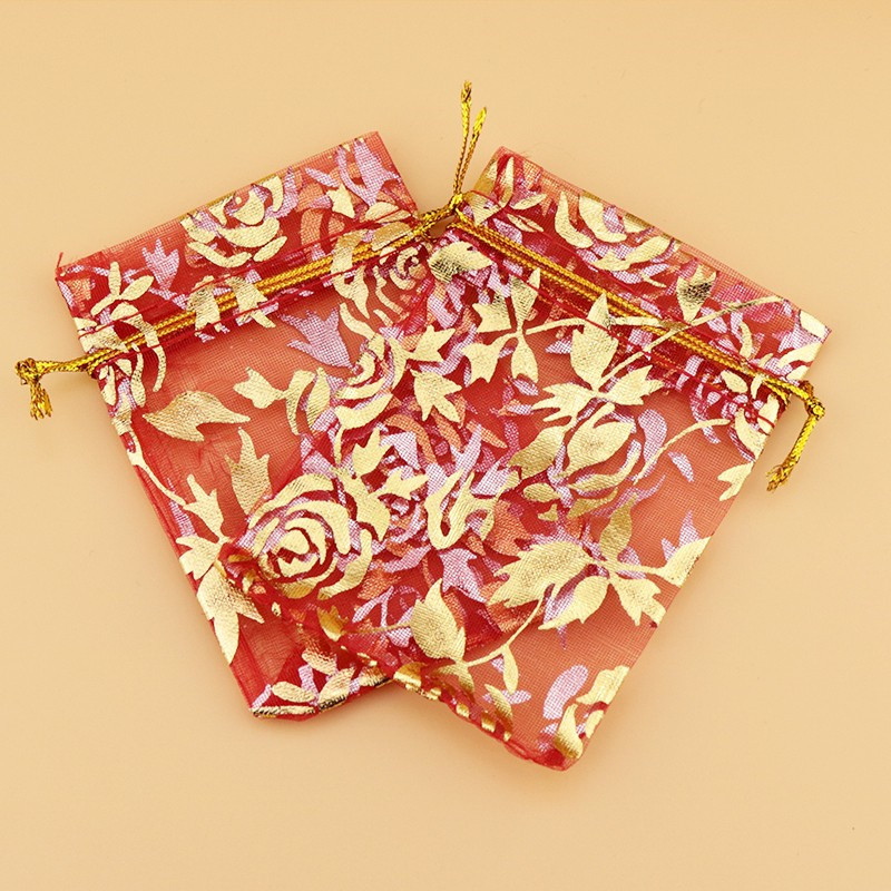 tamanho saco de presente de malha chá