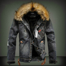 Winter Thick Denim Jacket Tide Men Casual Retro fur Collar fashion male Coat plus size S-6XL