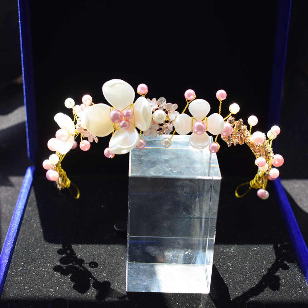 אישה בעבודת יד ראש חתיכה לחתונה ורוד לבן חרוזים פרח עלה Deartiara עיצוב כיסוי ראש הכלה שיער אבזרים