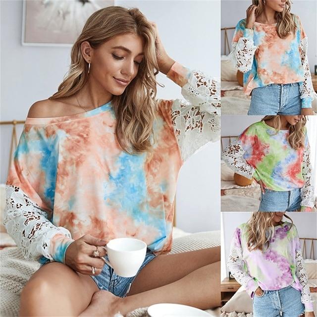 повседневная женская футболка кружевной лоскутный пуловер с фотография