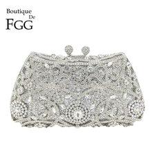Boutique De FGG Plata brillante mujer bolsos De mano con cristales, bolsos De noche nupcial diamante embrague monedero boda fiesta Minaudiere bolso