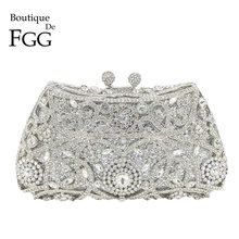 Boutique De FGG Sparkling Silver Women Crystal Clutch Evening Bags Bridal Diamon