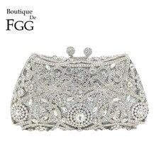 Boutique De FGG Sparkling Silver Women Crystal Clutch Evening Bags Bridal Diamon