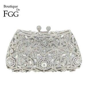 Image 1 - Boutique de fgg sparkling prata feminino cristal embreagem sacos de noite nupcial diamante embreagem bolsa festa casamento minaudiere bolsa
