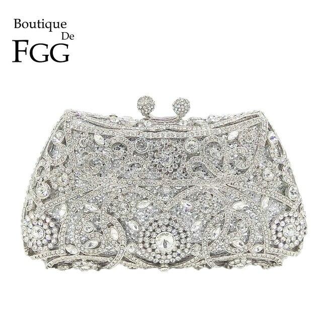 Boutique de fgg sparkling prata feminino cristal embreagem sacos de noite nupcial diamante embreagem bolsa festa casamento minaudiere bolsa