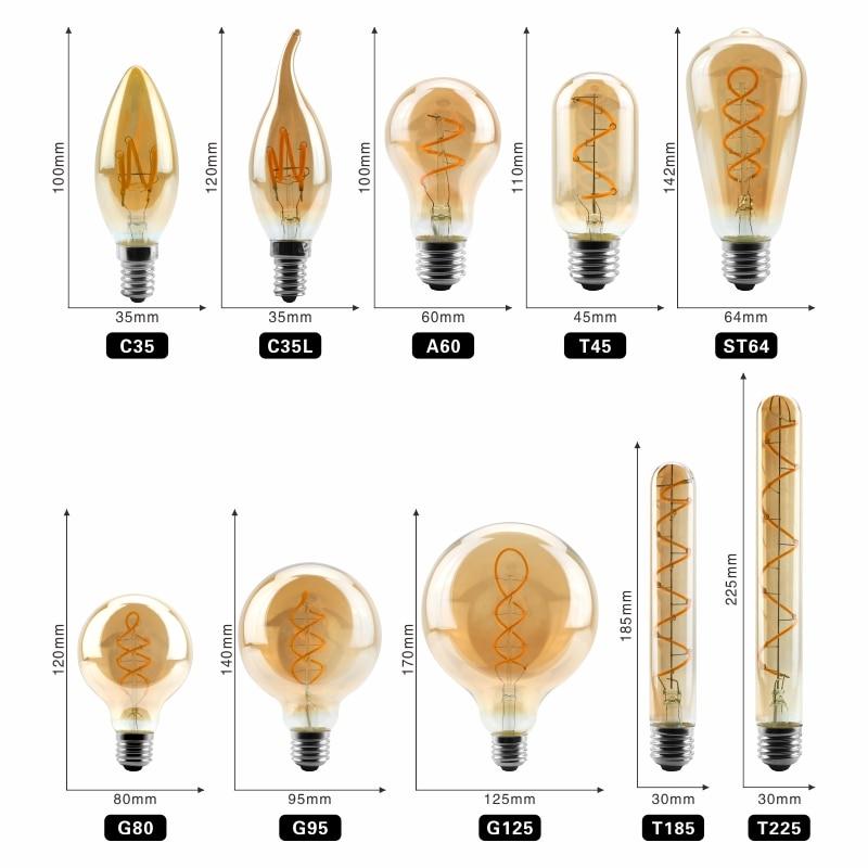 Vintage Edison Bulb E27 E14 220V Retro Lamp 4W Ampoule Vintage Light Bulb Edison Lamp Led Filament Light Edison Bulb in LED Bulbs Tubes from Lights Lighting
