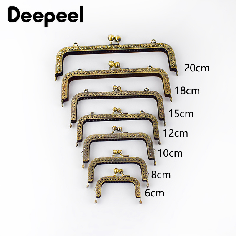 Deepeel 5pcs/lot 6-120cm High Quality Bronze Square Handle Kiss Clasp Embossed Metal Purse Frame Handle for Bag Sewing Craft