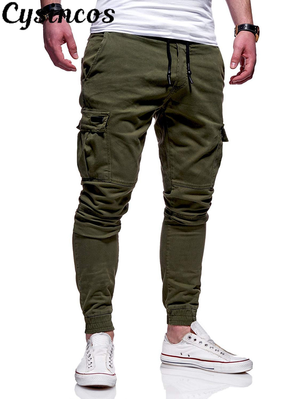 CYSINCOS New Style Fashion Hot Solid Pocket Men's Jogger Pants Urban Hip Hop Harem Casual Trousers Slim Fit Elastic