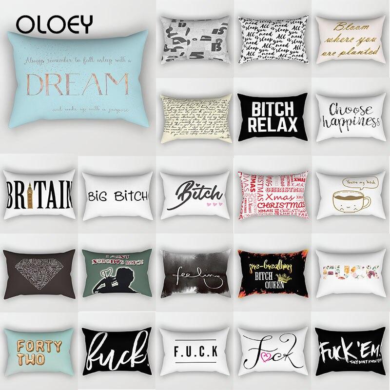 Fashion English Letter Pillowcase Rectangular Travel Animal Pattern Printed Pillowcase On Both Sides Home Decoration 50 * 30cm .
