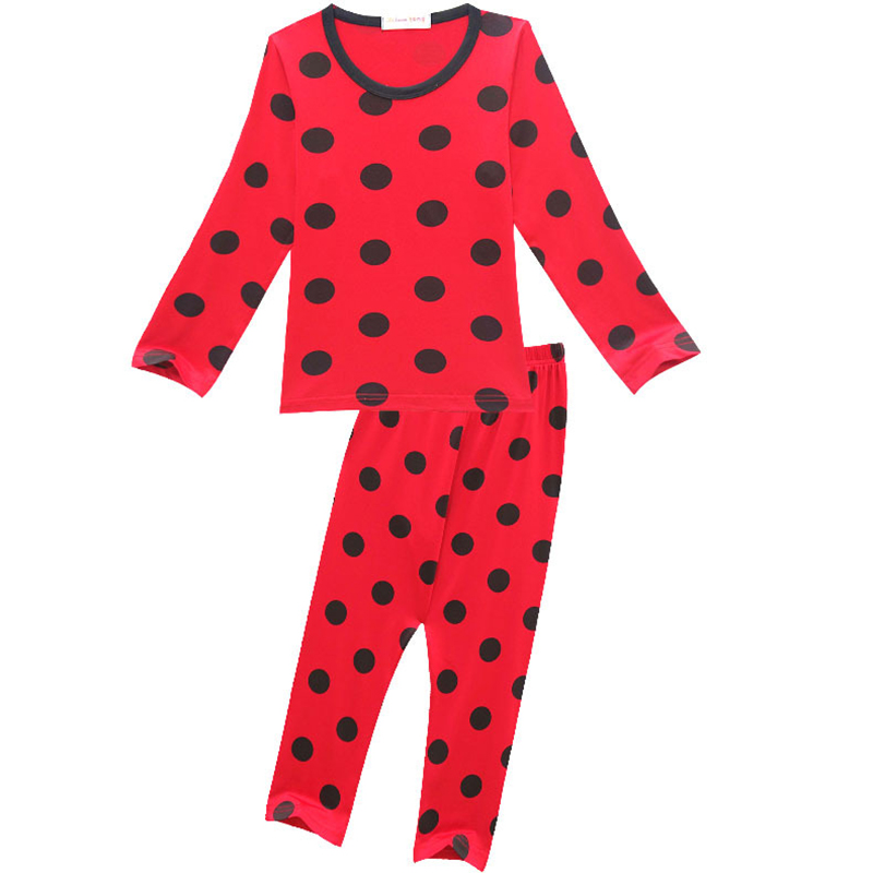 Children Girls Casual Homewear Lady Bug   Pajamas     Set   Long Sleeve Girls Sleepwear Dots Red Nightwear Children Girls Clothing   Sets