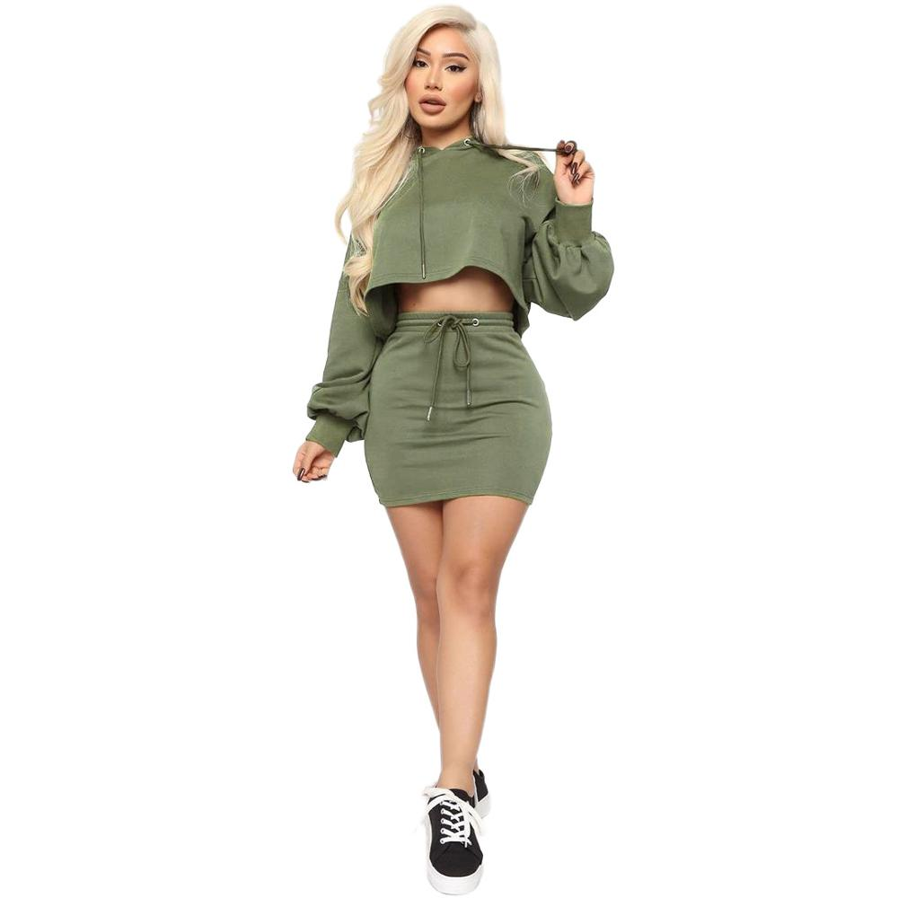 Echoine Crop Top Hoodies And Mini Skirt Two Piece Set Tracksuit Women Winter Jogging Femme Sexy Casual Club Outfits Matching Set