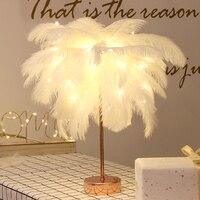 LED Fernbedienung Feder Tisch Lampe USB Power Warmes Licht Baum Feder Lampenschirm Hochzeit Hause Schlafzimmer Dinner-Party Home Decor