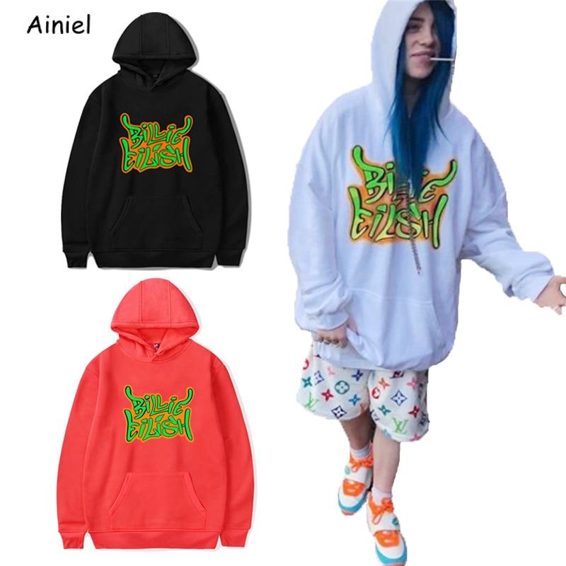 Billie Eilish Fashion Streetwear Hoodie Sweatshirt Tops Hoodies Autumn Loose Tops Long Sleeve Sport K-pops Harajuku Women Girl