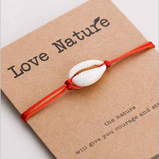 1pc Hot Sale Fashion Wholesale  paua genuine cowrie sea shell bracelet Paper Wish Card Gift Handmade Red String  260-268