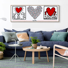 Canvas Painting Keith Haring Heart Wall Pictures For Living Room Abstract Art Modern Decorative Posters and Prints Cuadros