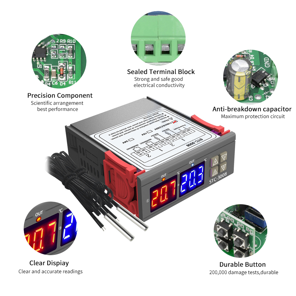 12V//24V//220V LED Digital Temperature Controller Thermostat Heater Cooler durable