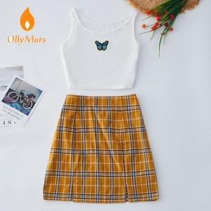 Women 2 Piece Set Butterfly Pattern Embroidery Crop Tank Tops Plaid Split Mini Skirt Fashion Female Summer Streetwear Set
