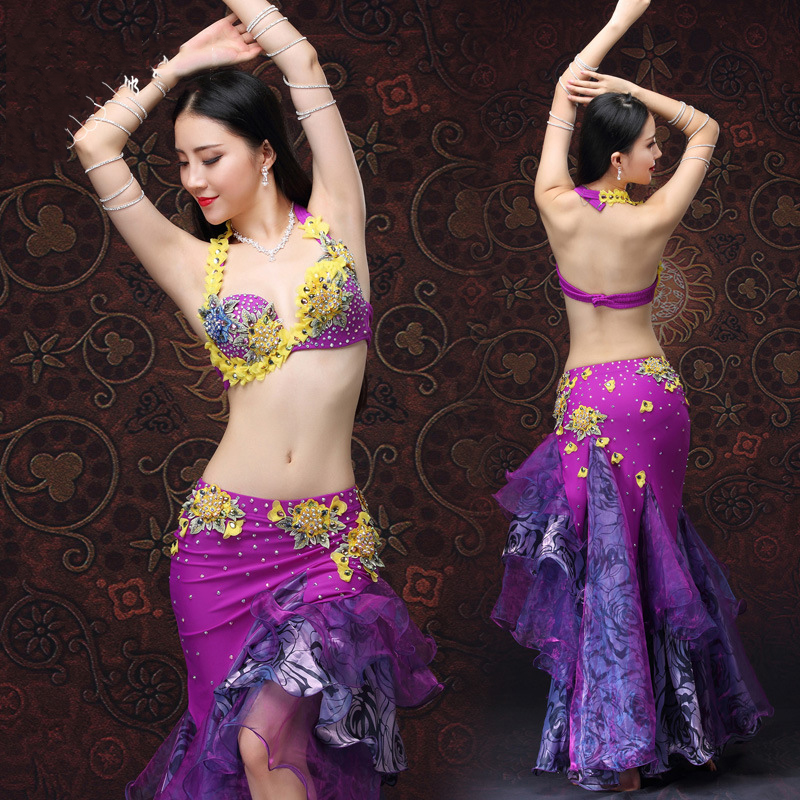 Belly Dance XL Size Push Up Bra High Grade Belly Dance Costumes Set Bra Skirt Adjustable 2pcs Purple Eastern Style