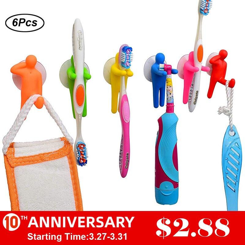 UNTIOR 6PCS Colorful Toothbrush Holder Set For Kids Creative Gymnastics Shape Toothbrush Holder Bathroom Garage Office Kitchen