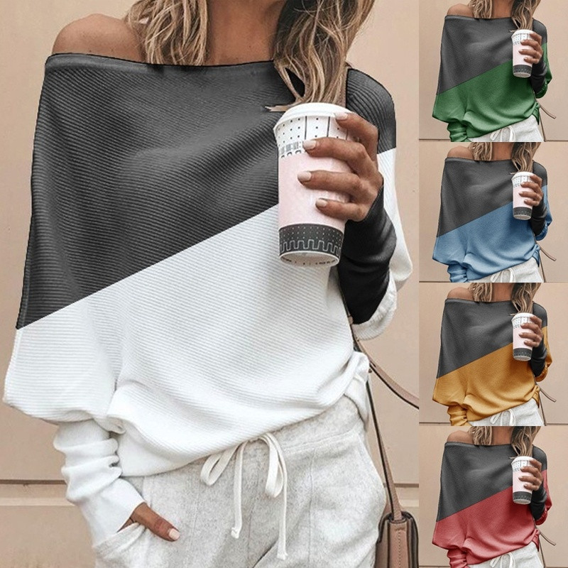 Autumn Winter Clothes Women Plus Size S-5XL Casual Shirts O Neck Patchwork Batwing Sleeve Pullovers Off Shoulder Female T-shirts 27