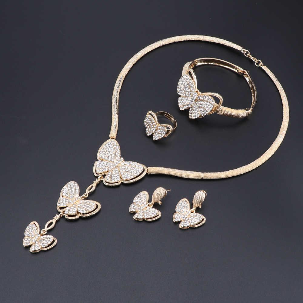 Mode Afrikanische Perlen Kristall Halskette Sets Frauen Kunden Nigerian Hochzeit Dubai Gold Farbe Schmuck Set Braut Zubehör