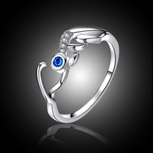 Rhod Color Luxury Love Heart Mom Design Bijoux Fashion Wedding Ring CZ Crystal Rings For Women As Xmas/Birthday Jewelry Gift