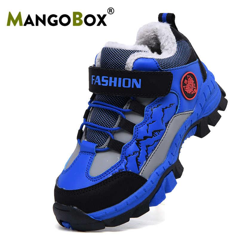 Winter Warm Kids Outdoor Laarzen Comfortabele Grote Jongen Wandelschoenen Rubberen Zool jongens sport schoenen Binnenkant Bont Rotsklimmen Schoenen kids