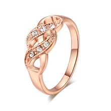 Double Fair Wave pierścienie nieskończoności dla kobiet ślub zaręczyny kobiet kobiet pierścień Rose pozłacana biżuteria akcesoria R226 tanie tanio CN (pochodzenie) Miedziane Kobiety Cyrkonia Klasyczny Obrączki ślubne Numer Zgodna ze wszystkimi Ustawienie napięcia