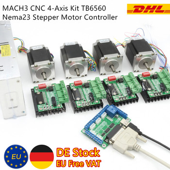 EU/RUS Ship! 4 Axis Mach3 Controller Kit Nema23 270 Oz-in Stepper Motor(Dual Shaft)&TB6560 Driver for CNC Router Milling Machine image