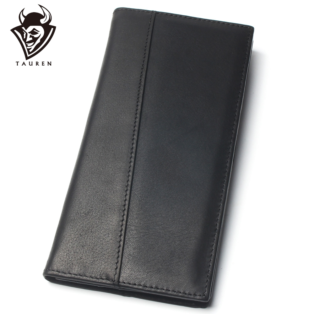 Men Black Stitching Style 100% Genuine Leather Wallet Men's Long Credit Card Travel Wallet Leather Hand Purse For Men
