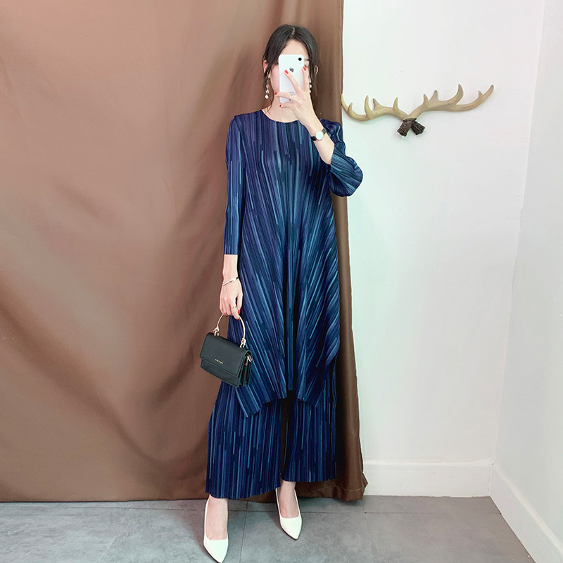LANMREM 2020 New Pleated Vintage Women Clothes O-neck Pullover Dress And Wide Legs Pants Two Pieces Set Spring Summer New WJ263