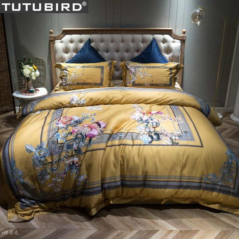 TUTUBIRD-Европейский Египетский хлопок постельное белье мягкий сатин постельные принадлежности цветочный пасторальный пододеяльник наволочки покрывала 4 шт. наборы