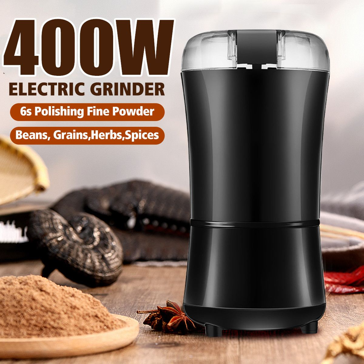 400W Powerful Kitchen Electric Coffee Grinder Maker Mini Salt Pepper Beans Mill Herbs Spice Nuts Electronic Grind Machine