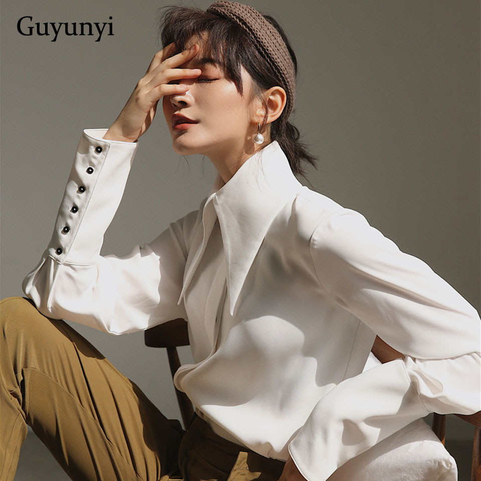 England Style Vintage Blouse 2019 Autumn White Lantern Long Sleeve Big Pointed Lapel Simple Comfortable Loose Shirt Women