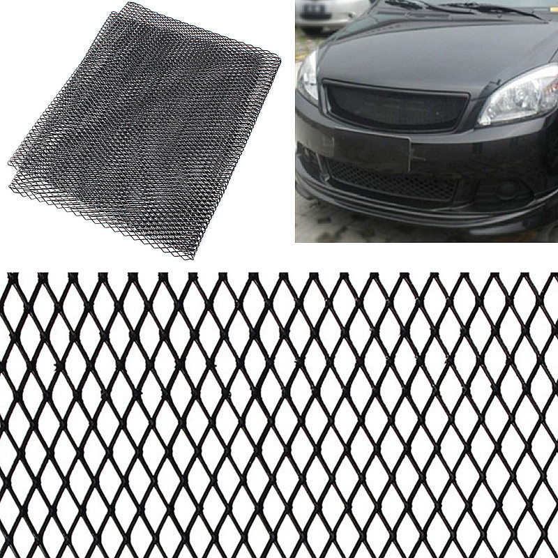 Universal 100x33cm Aluminum Car Vehicle Black Body Grille Net Mesh Grill Section Black /Silver Send at random