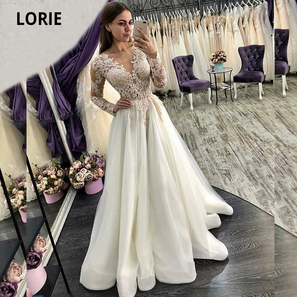 LORIE Lace Appliqued Wedding Dresses For Long Sleeve Back Button Tulle Bride Gowns Beach Plus Size Bridal Party Dress Boho 2020
