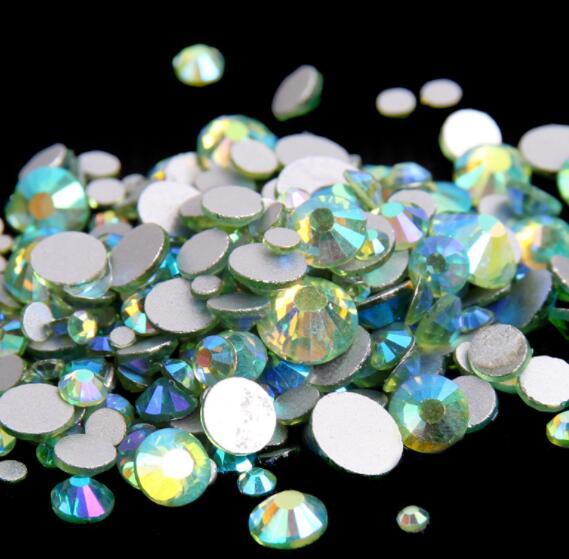 Цветные кристаллы Peridot AB ss3,ss4,ss5,ss6,ss8,ss10,ss16,ss20,ss30 без горячей фиксации, клей для украшения ногтей стразами