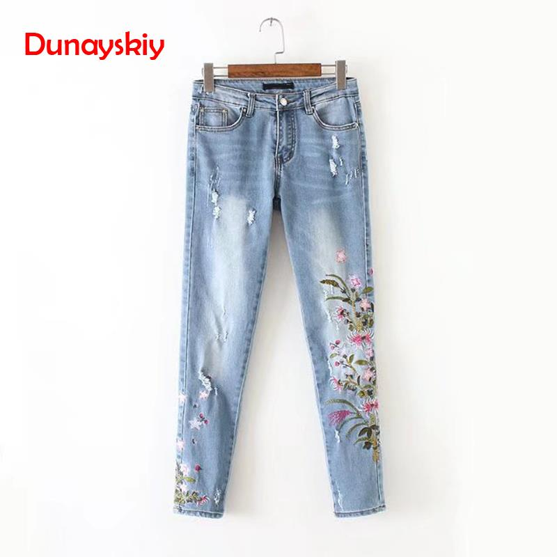 2020 Spring Summer New Boyfriend Jeans Ripped High Waist Dense Denim Floral Embroidered Jeans For Women Plus Size Pencil Pants
