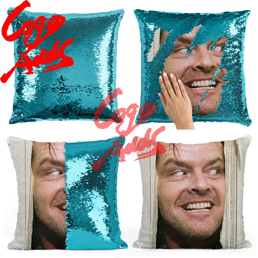 gift for her Heres Johnny Jack Nicholson sequin pillow gift for him Two color pillow sequin Pillowcase pillow magic pillow