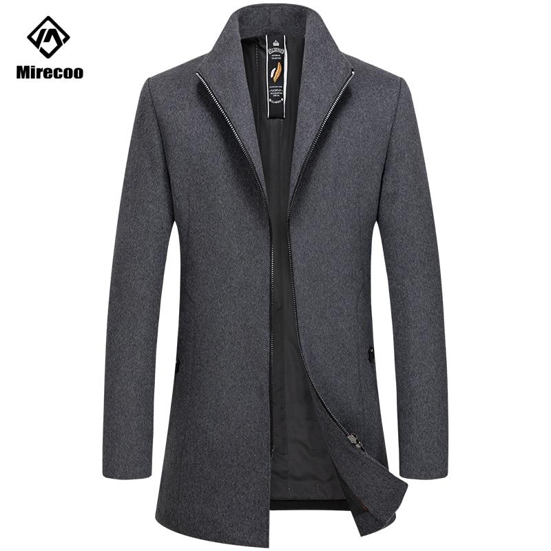 Classic Overcoat Men Solid Color Thick Woolen Long Jacket Men Full Turn-down Collar Men's Business Warm Wool Coat Winter 2019