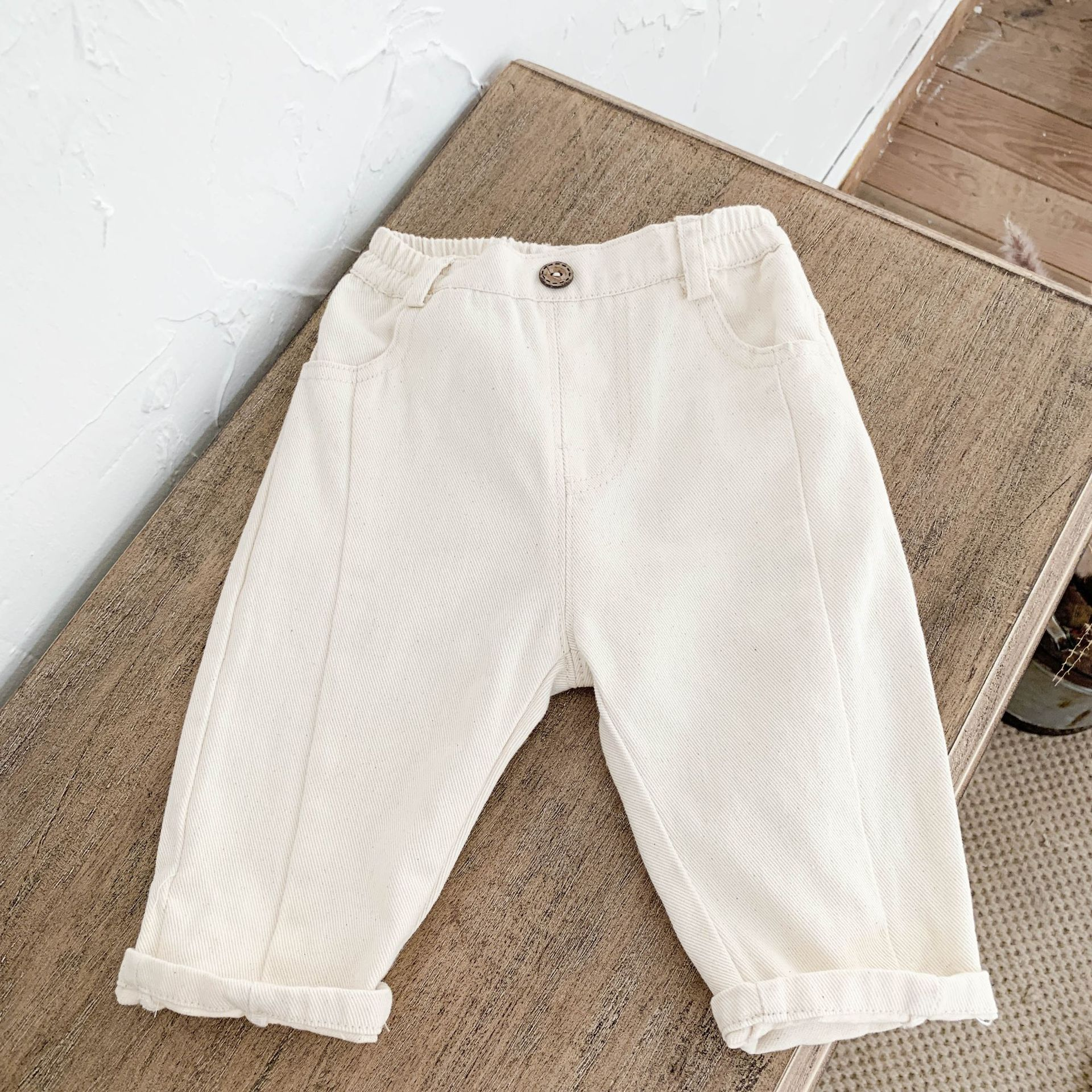 Beige Elastic Jeans