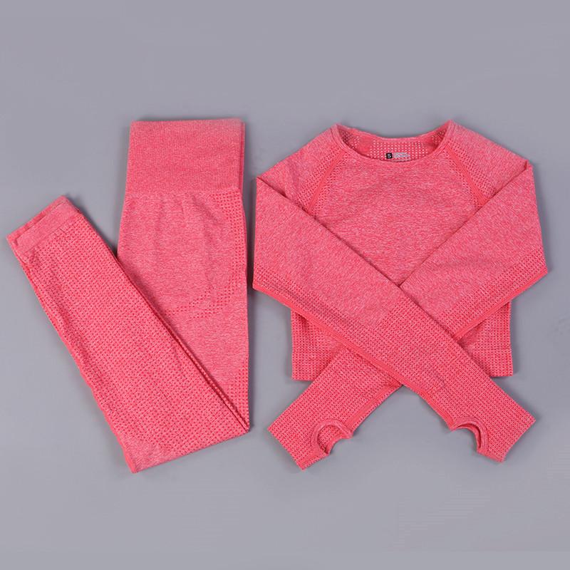 Women Seamless Long Sleeve Yoga Set 2 Piece Sports Bra Top+Pants Sportswear Tracksuit Gym Fitness Leggings Costume Jogging Suit