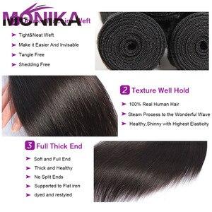 Image 3 - Monika zestawy hurtowe ludzkie włosy Tissage brazylijskie ludzkie włosy splot wiązki proste włosy pojedyncze zestawy oferty nierealne włosy