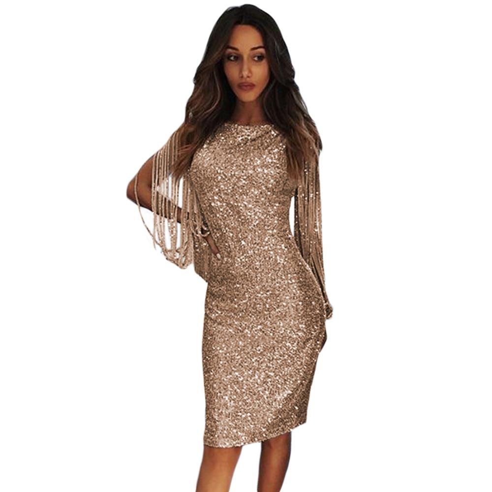 Tassel Cocktail Dresses Gold Sequins Long Sleeve Sexy Knee Length Women Fashion Formal Cocktail Dress Vestidos De Coctel