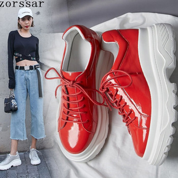 Stylish Women Casual Shoes Patent Leather Chunky Dad Shoes Platform Sneakers Harajuku Flat Thick Sole Tenis Red Walking Outdoor