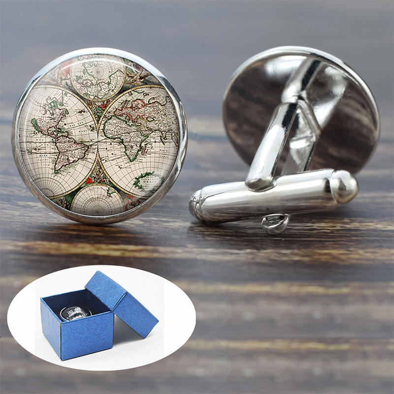 Earth World Map Globe Cufflinks For Mens Cuff Button Americas Europe Map Silver Cuff Links Wedding Cufflinks Men Fashion Jewelry