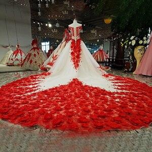 Image 2 - LS37749 2018 el çalışma kırmızı 3D çiçekler parti elbise kapalı omuz boncuklu lace up evaze elbise düğün parti için gerçek olarak resimleri