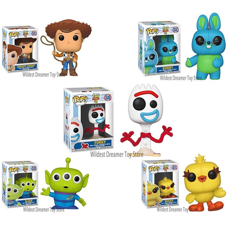 FUNKO POP-figuras de Anime, Toy Story 4, Forky, Ducky, Bunny, Buzz Lightyear, Alien, Woody, colección de figuras de acción, juguetes para niños